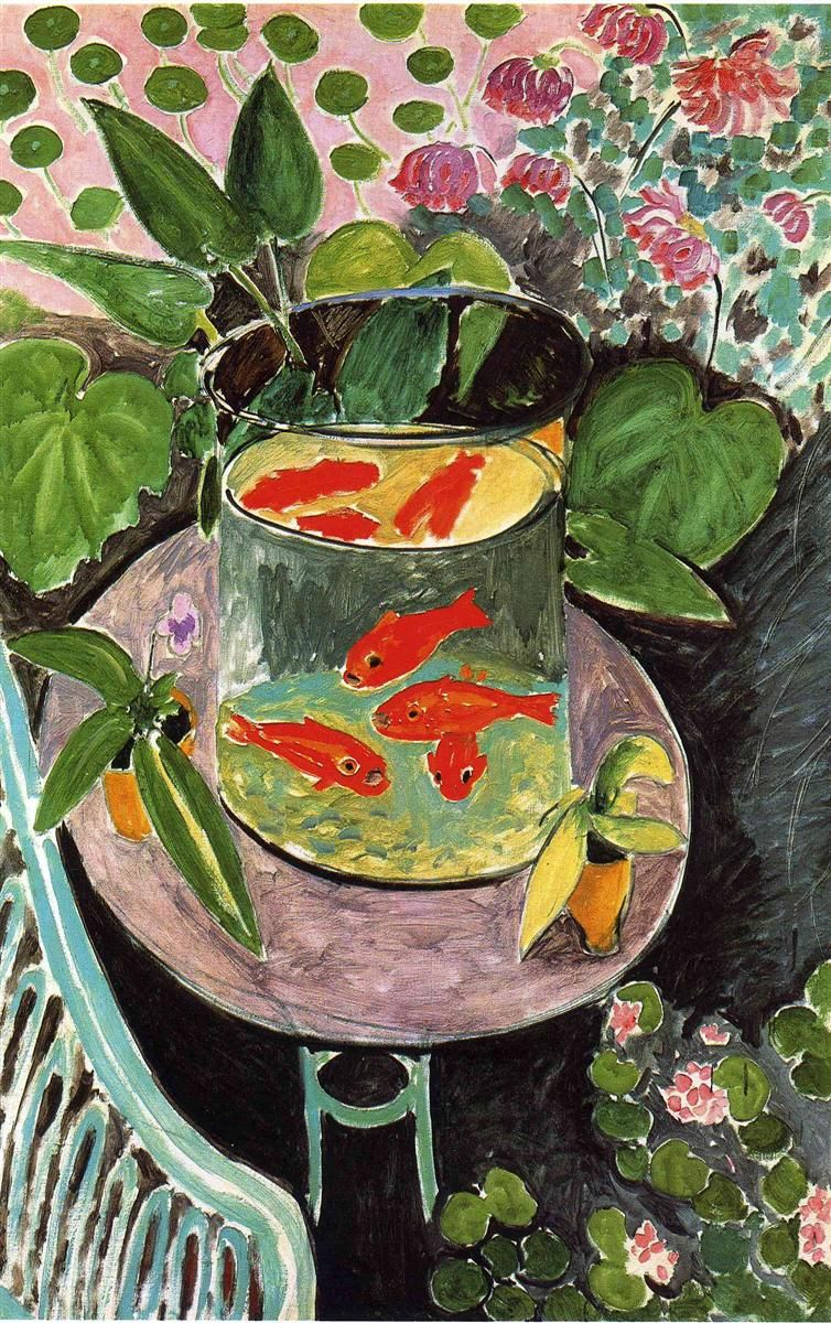 """Henri Matisse, """"Goldfish,"""" oil paint, 191. Notice the complexity of the figure/ground relationships."""