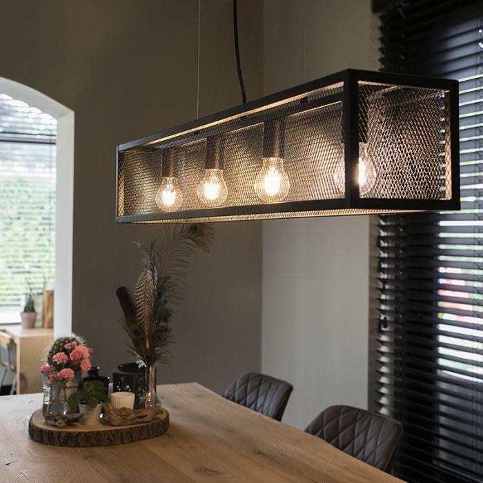 Industriell Hangande Lampa Svart Med Mesh 4 Lampor Bur Black Lamps Hanging Lamp Lamp