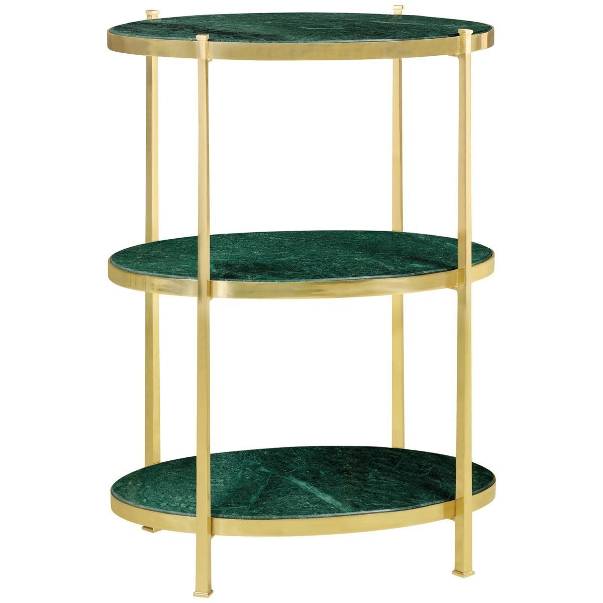 Jonathan Charles Marble and Polished Solid Brass Three-Tier Table