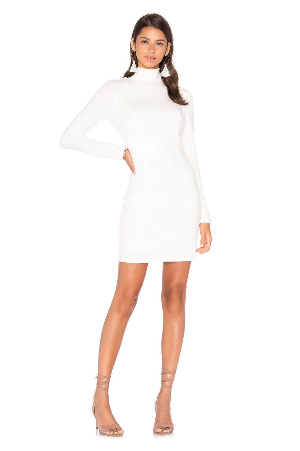 White Fashion Long Sleeve Turtleneck Dress In 2021 Turtle Neck Dress Long Sleeve High Neck Dress Fashion [ 1200 x 800 Pixel ]