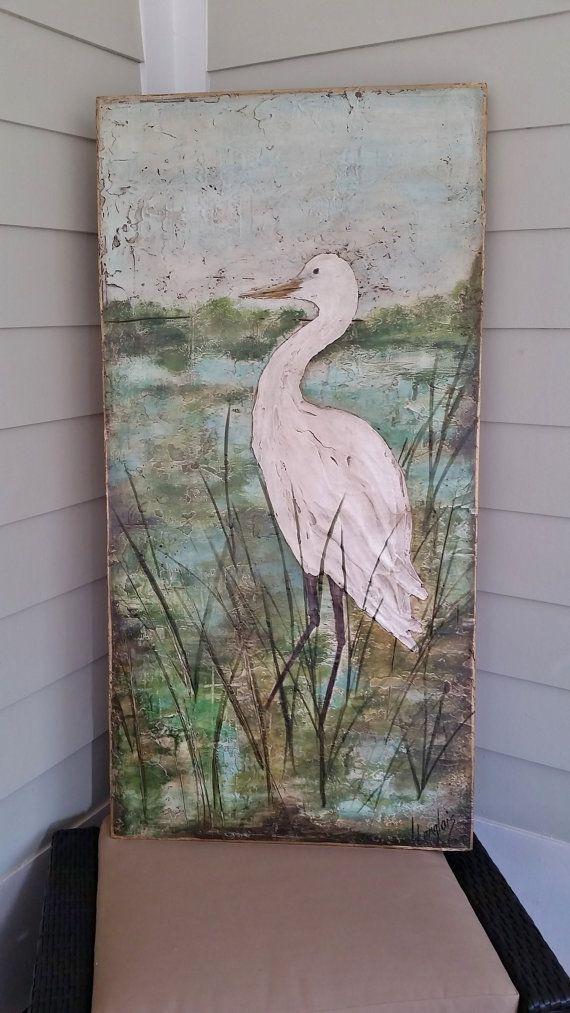 Egret White Heron Painting Original Acrylic Coastal Art Etsy Art Coastal Art Painting