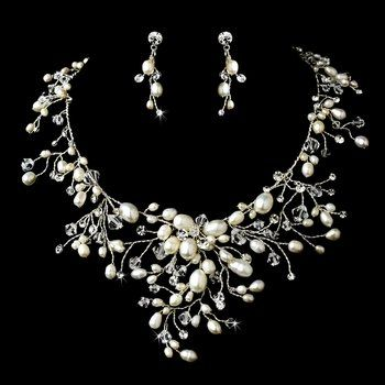 Dramatic Freshwater Pearl and Crystal Bridal Necklace Wedding  Jewelry Set
