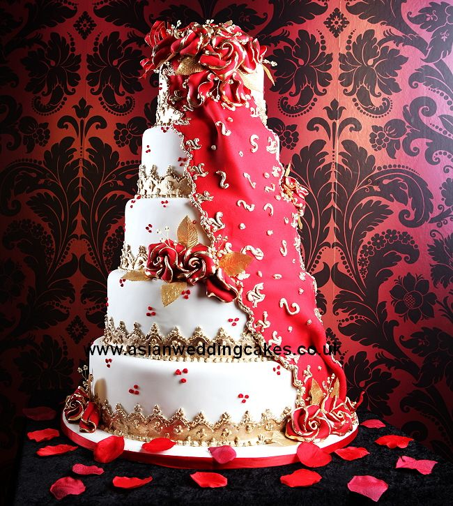 Asian Wedding Cakes red gold Cakes Pinterest Wedding cake