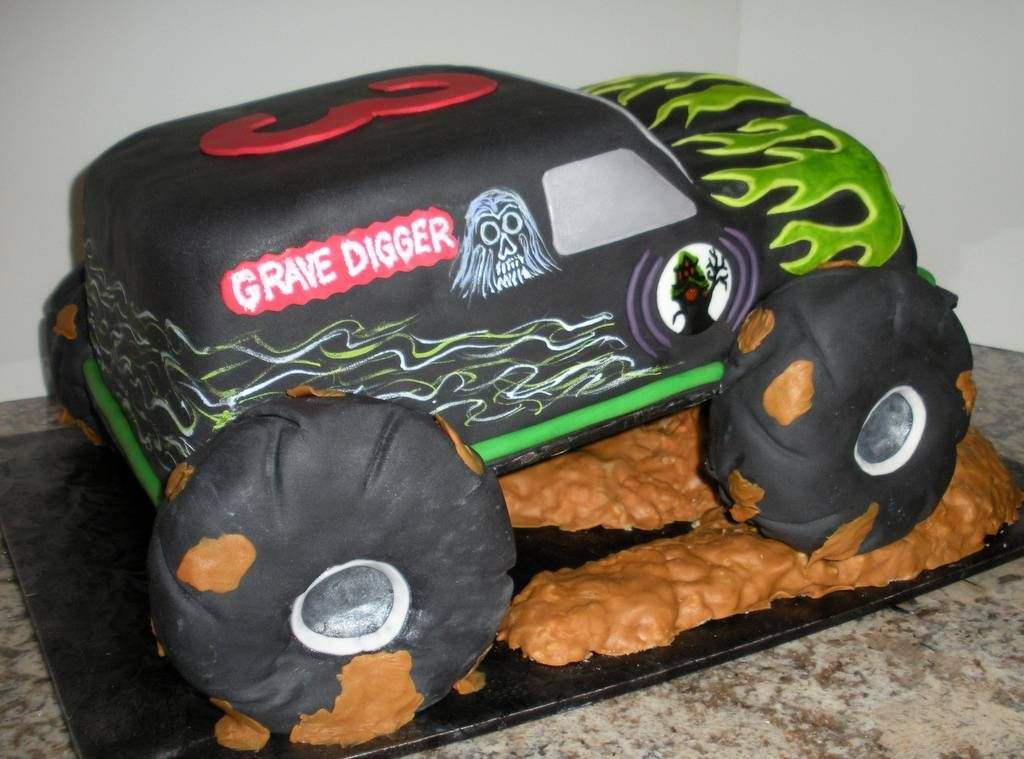 Monster Truck Cake Images Grave Digger With Images Monster