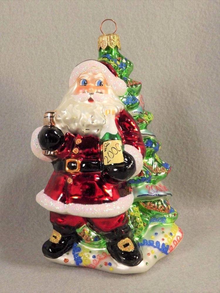 Christopher Radko 'MILLENNIUM CHEER' Santa Glass Christmas Ornament with Box