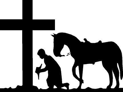 Cowboy with horse praying at cross vinyl decal by for Cowboy silhouette tattoo