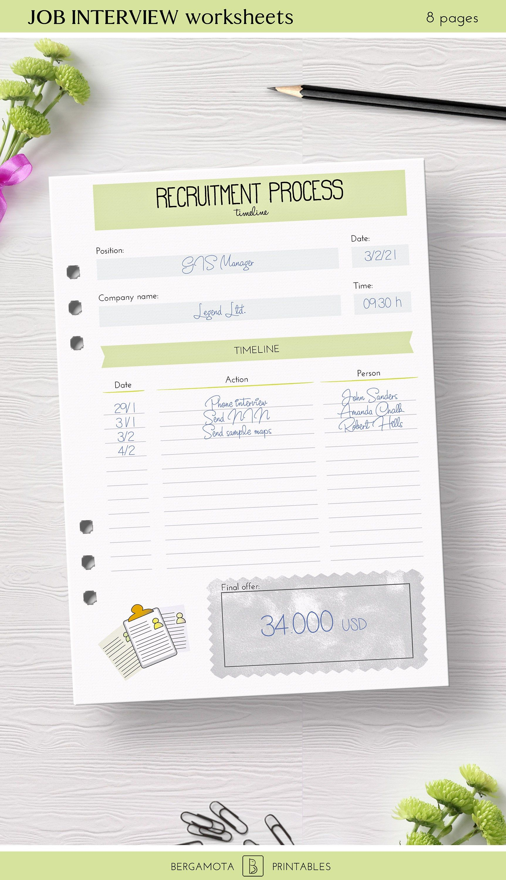 Job Interview Worksheets 8 Printable Planner Pages A5