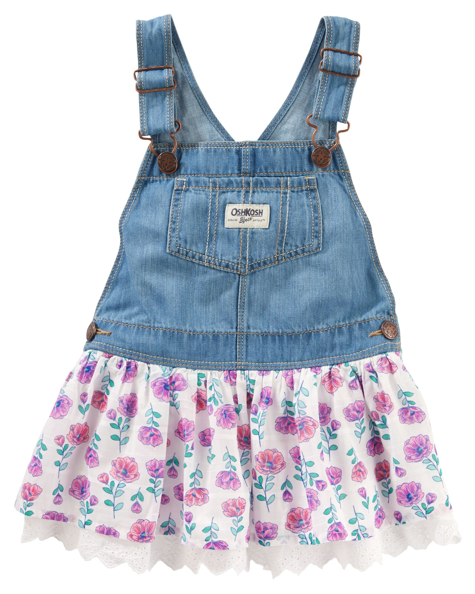 4160922737 Floral print and eyelet trim ruffles up classic OshKosh overall styling for  a charming twist on our genuine article.