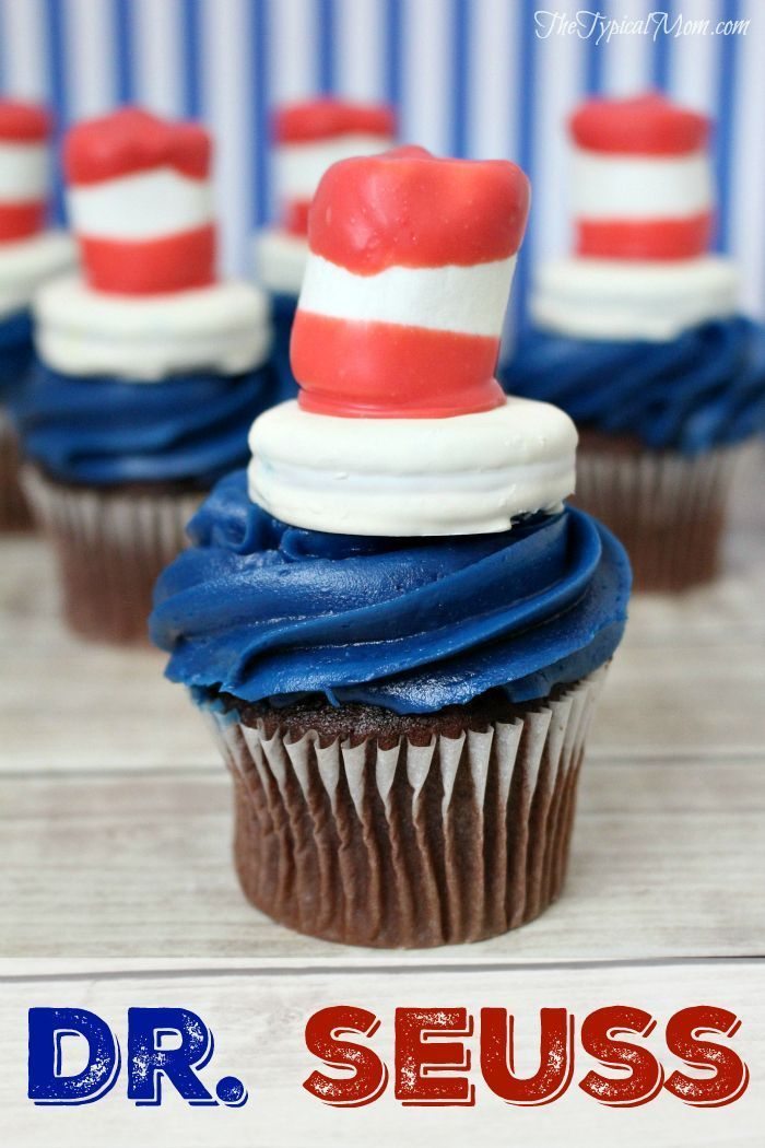 Dr. Seuss cupcakes. Perfect treat for a Doctor Seuss party or to celebrate his birthday in March.