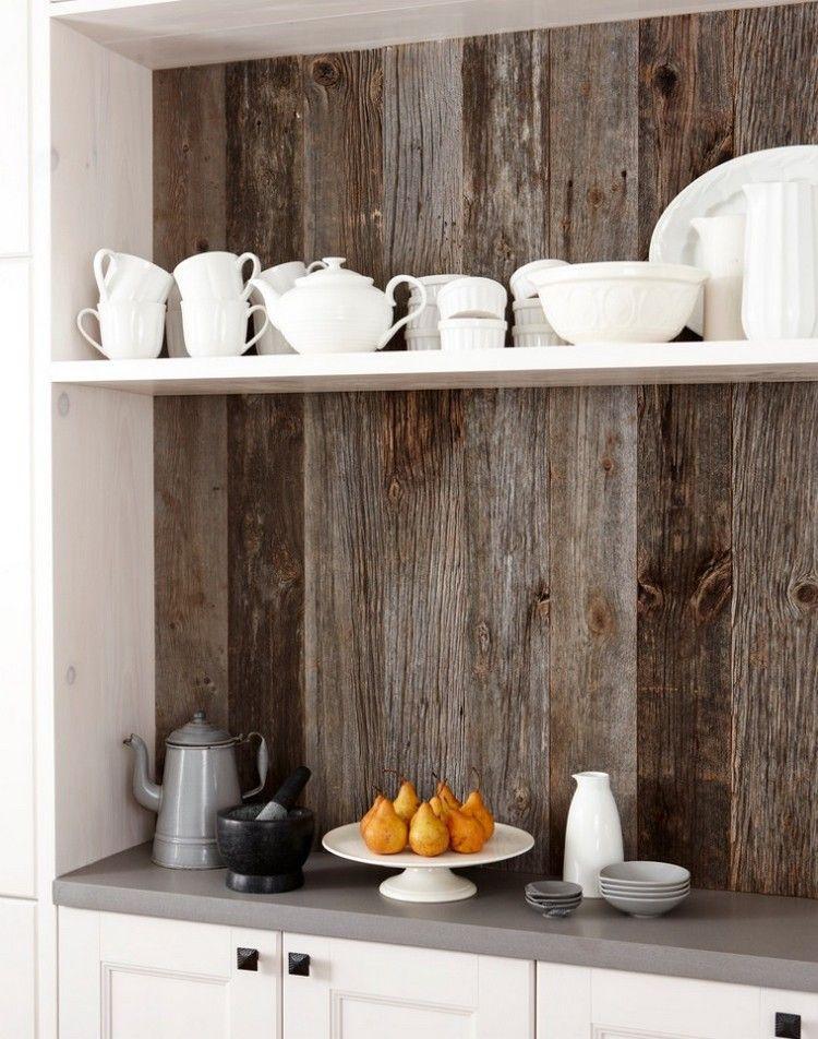 Kuchenruckwand Mit Holzverkleidung Kuche Pinterest