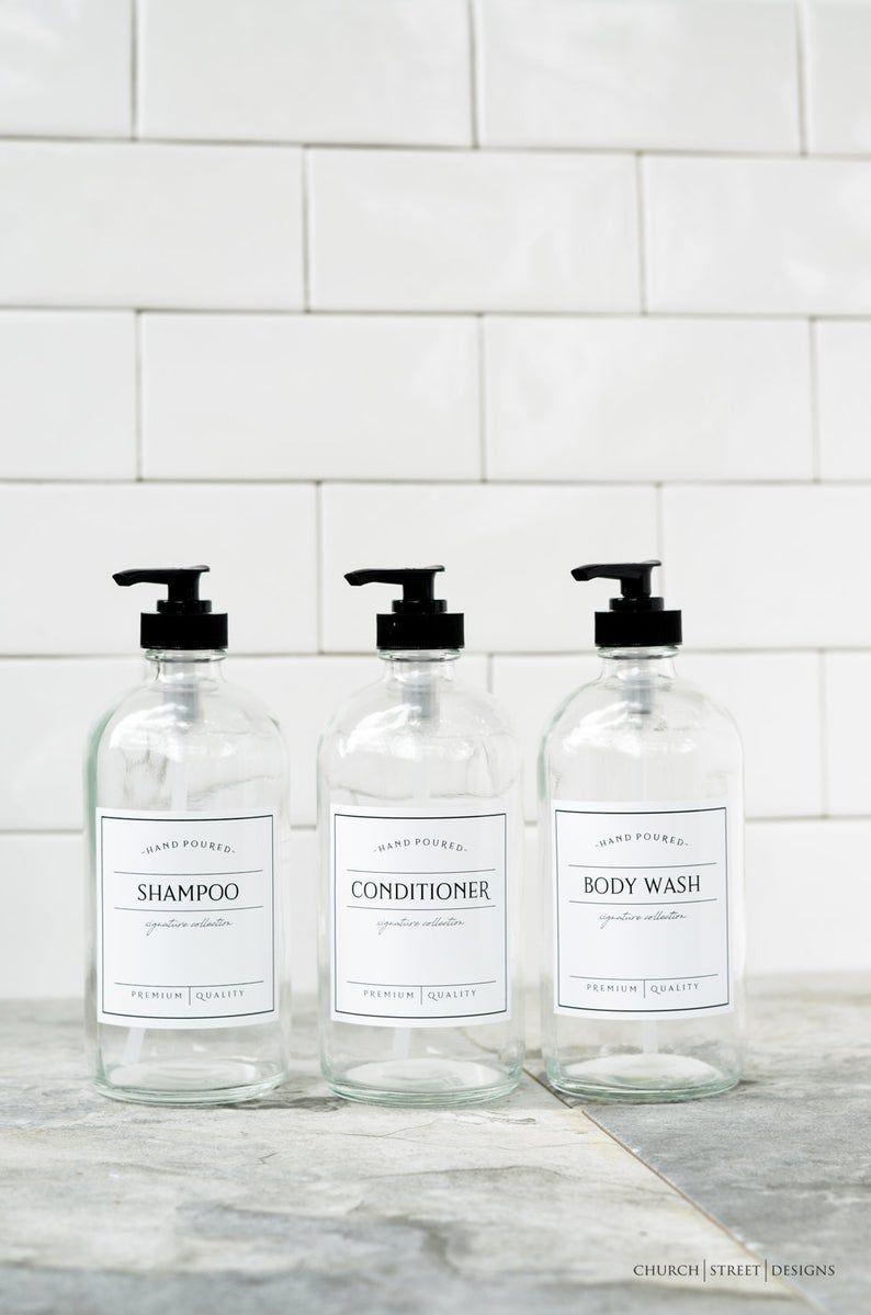 16 Oz Glass Shampoo Bottles Shampoo And Conditioner Bottles Etsy In 2020 Shampoo Bottles Shampoo And Conditioner Waterproof Labels