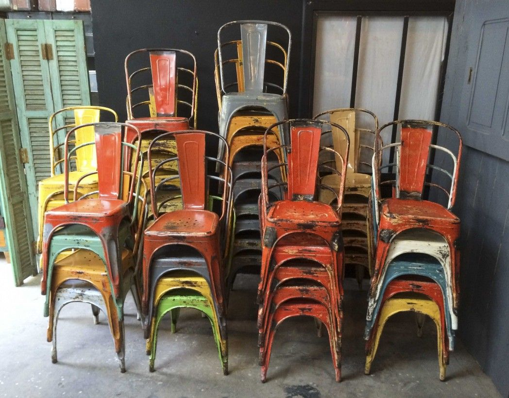 Industrial Vintage Tolix Chairs By Xavier Pauchard Very Colourful Laboutiquevintage Chaise Industrielle Chaises Tolix Chaise
