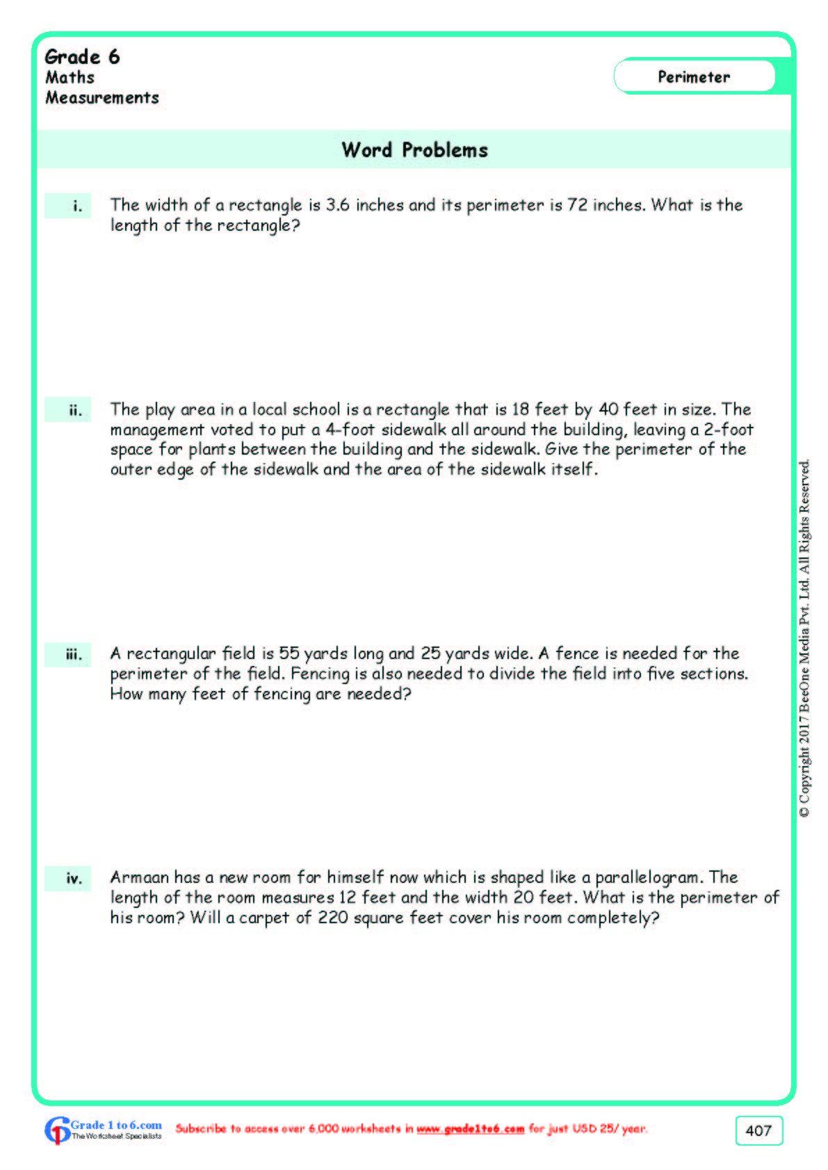 Worksheet Grade 6 Math Word Problems Math Word Problems Math Words Word Problems
