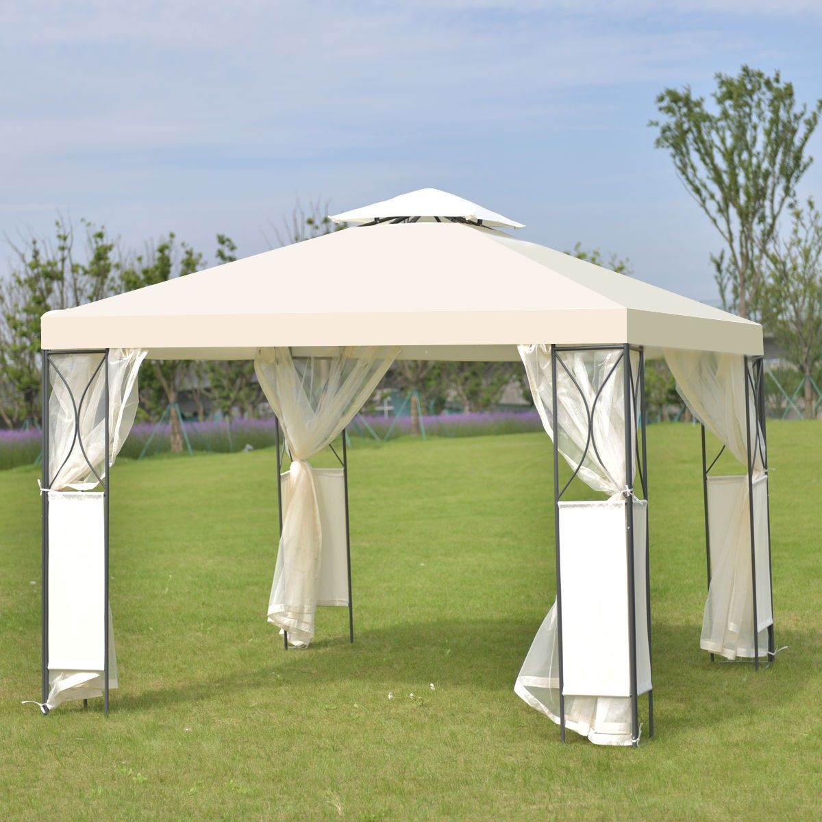 2 Tier 10 X 10 Patio Steel Gazebo Canopy Shelter Canopy Tent