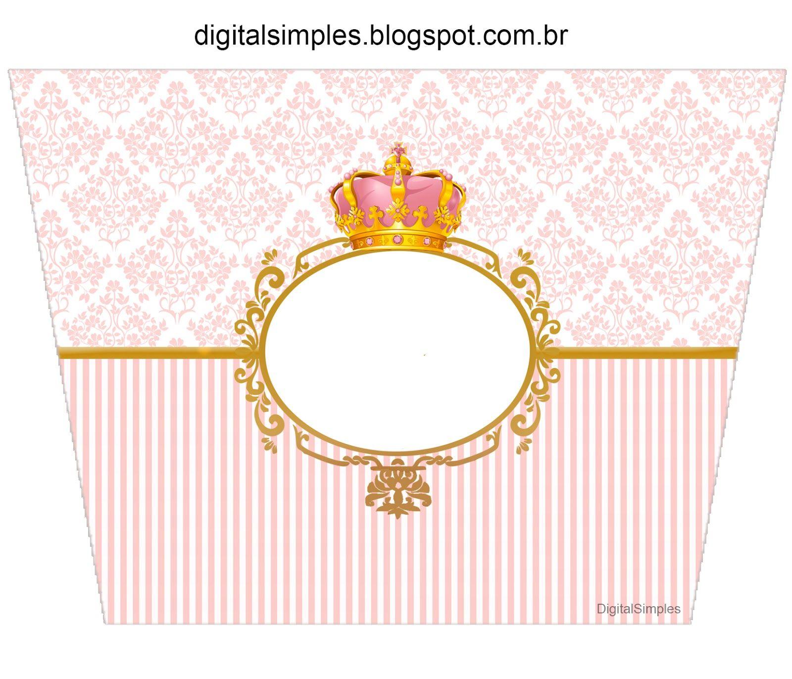 Corona Dorada en Fondo Rosa: Etiquetas para Candy Bar para Imprimir ...