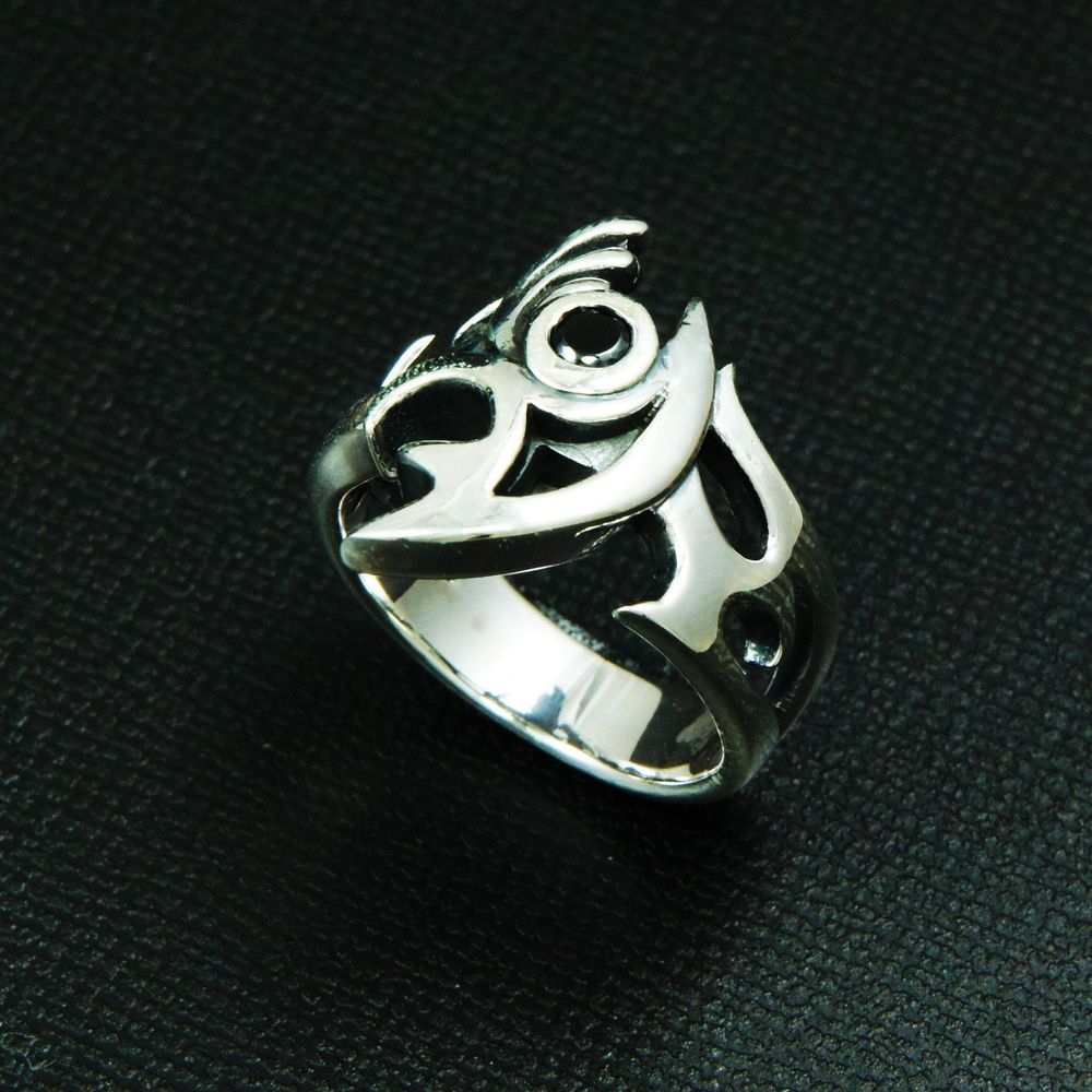 ABSTRACT EYE BLACK Cz 925 STERLING SILVER US Size 8 BIKER ROCKER RING ma-r002 #Handmade