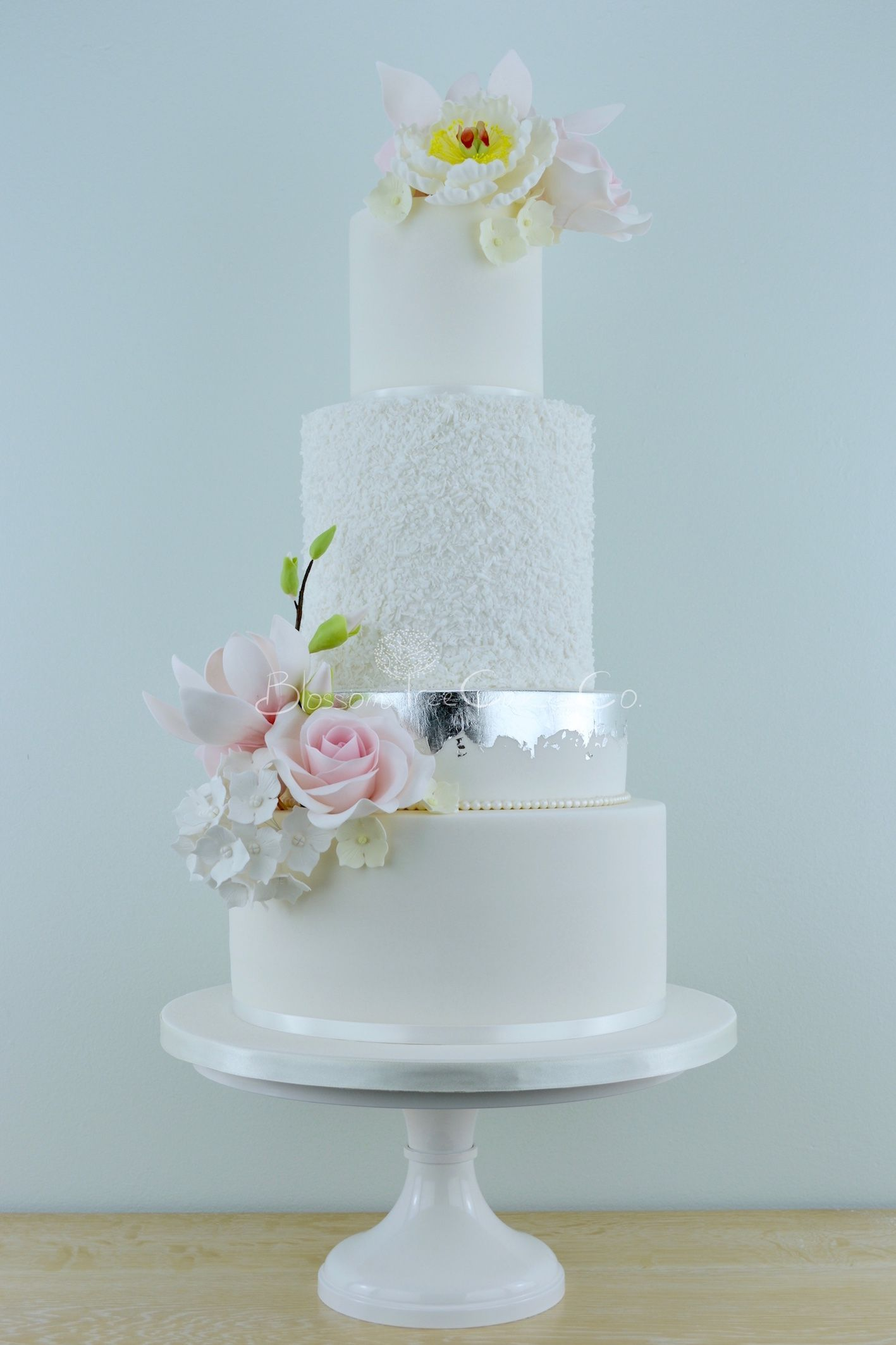 White And Silver With Pink Flowers Wedding Cake By Blossom Tree Cake