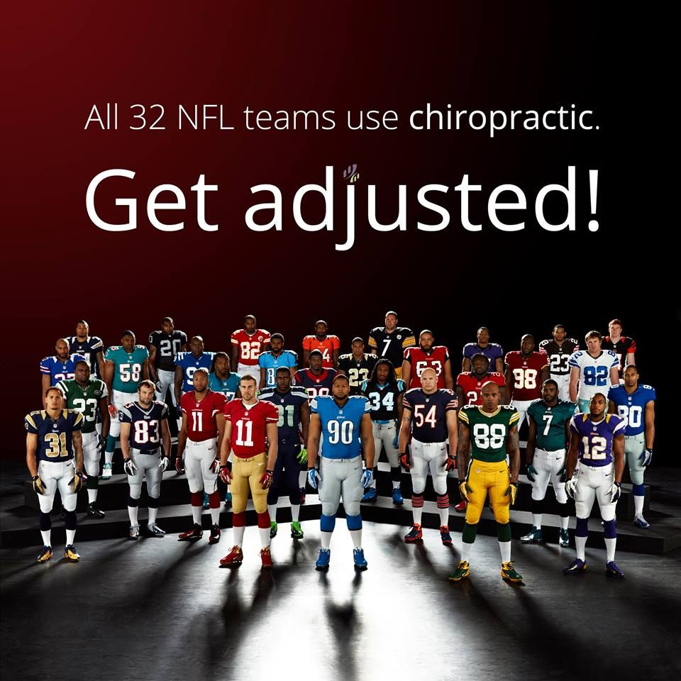 All 32 #NFL teams use #chiropractic. #GetAdjusted! Dr. Scott Arneson (952) 562-2420 www.facebook.com/ScottArnesonDC