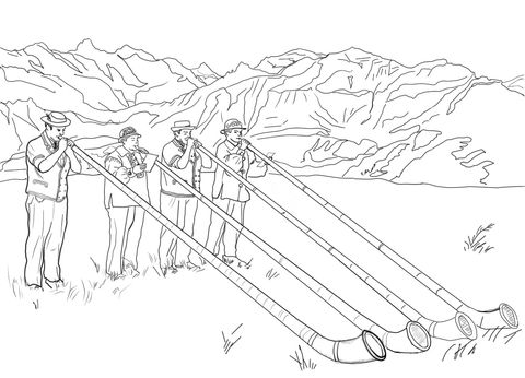 Swiss Alphorn Players coloring page from Switzerland