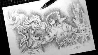 Fast Drawing The Final Battle Naruto Vs Sasuke Youtube With
