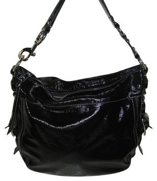 Black Coach Zoe Large Patent Leather Hobo Bag 220