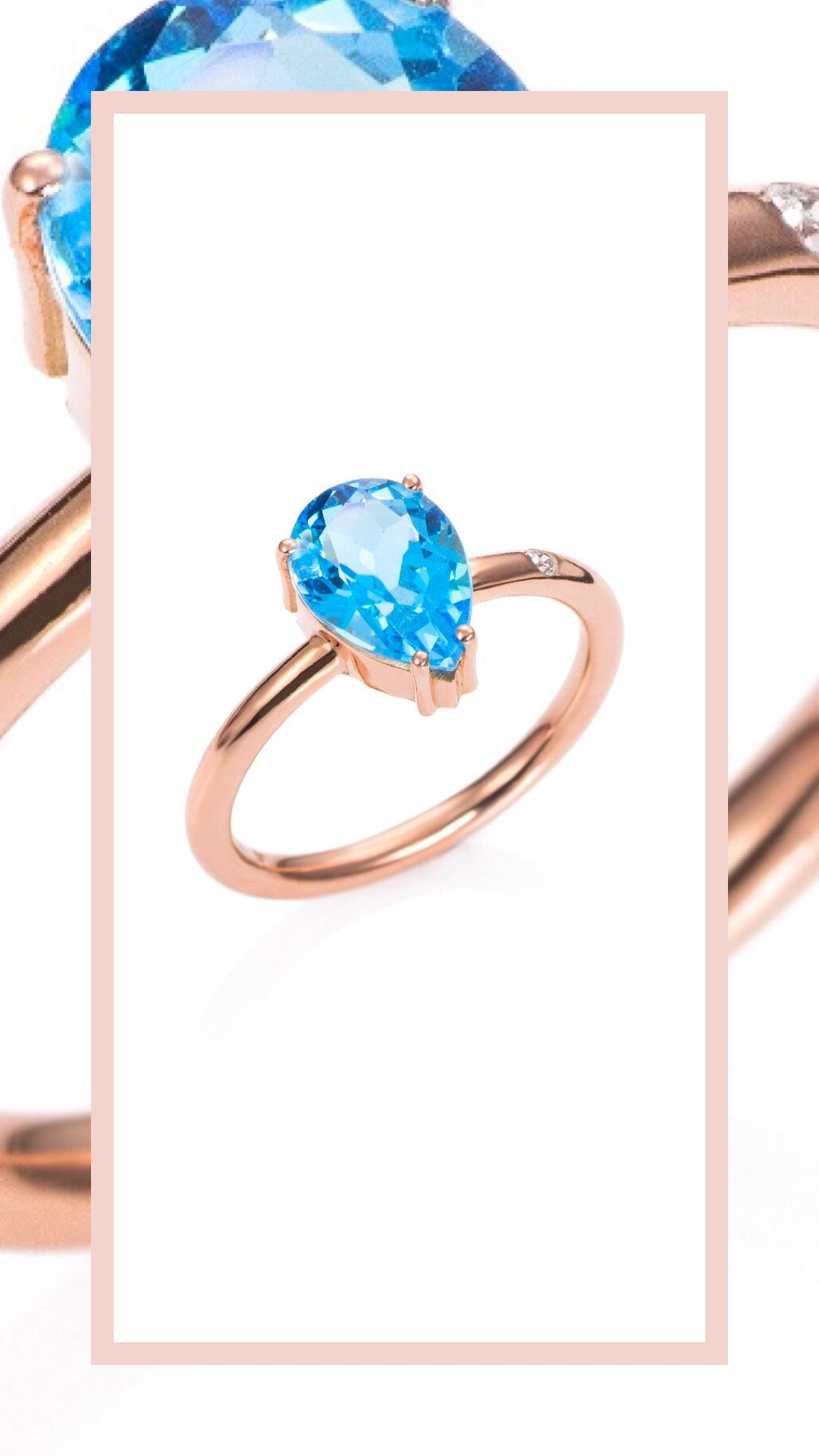 d5e060773497 Anillo elaborado en Oro de 18kts con Topacio sky talla Pera y diamante  talla brillante.