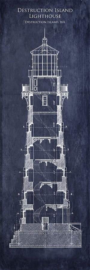 Destruction island lighthouse interior section blueprint 300900 destruction island lighthouse interior section blueprint 300900 malvernweather Choice Image