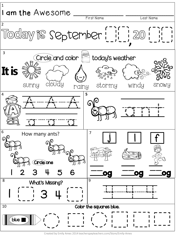 Morning Work September Packet For Kindergarten Common