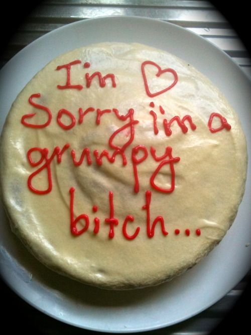grumpy cake hmmmm this is pretty funny!! Minus the €<>%€ I would say brat!!!