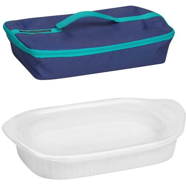 CorningWare French White 3-qt. Oblong Portable Baking Dish Set ($40) ❤ liked on Polyvore featuring home, kitchen & dining, bakeware, white, white bakeware, white baking dish, oblong baking dish, corningware baking dish and stoneware baking dish