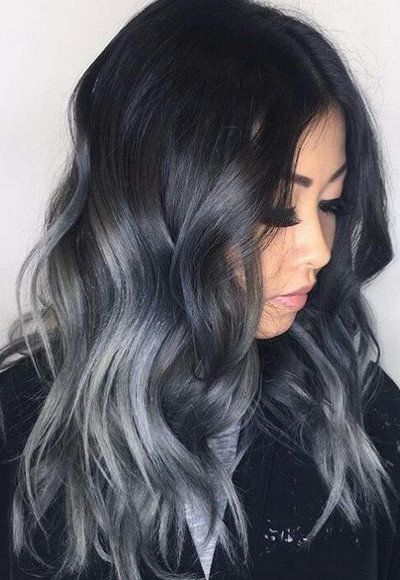 Remy Human Hair Weft Ombre Black to Blue Grey  a5f64d92cba3