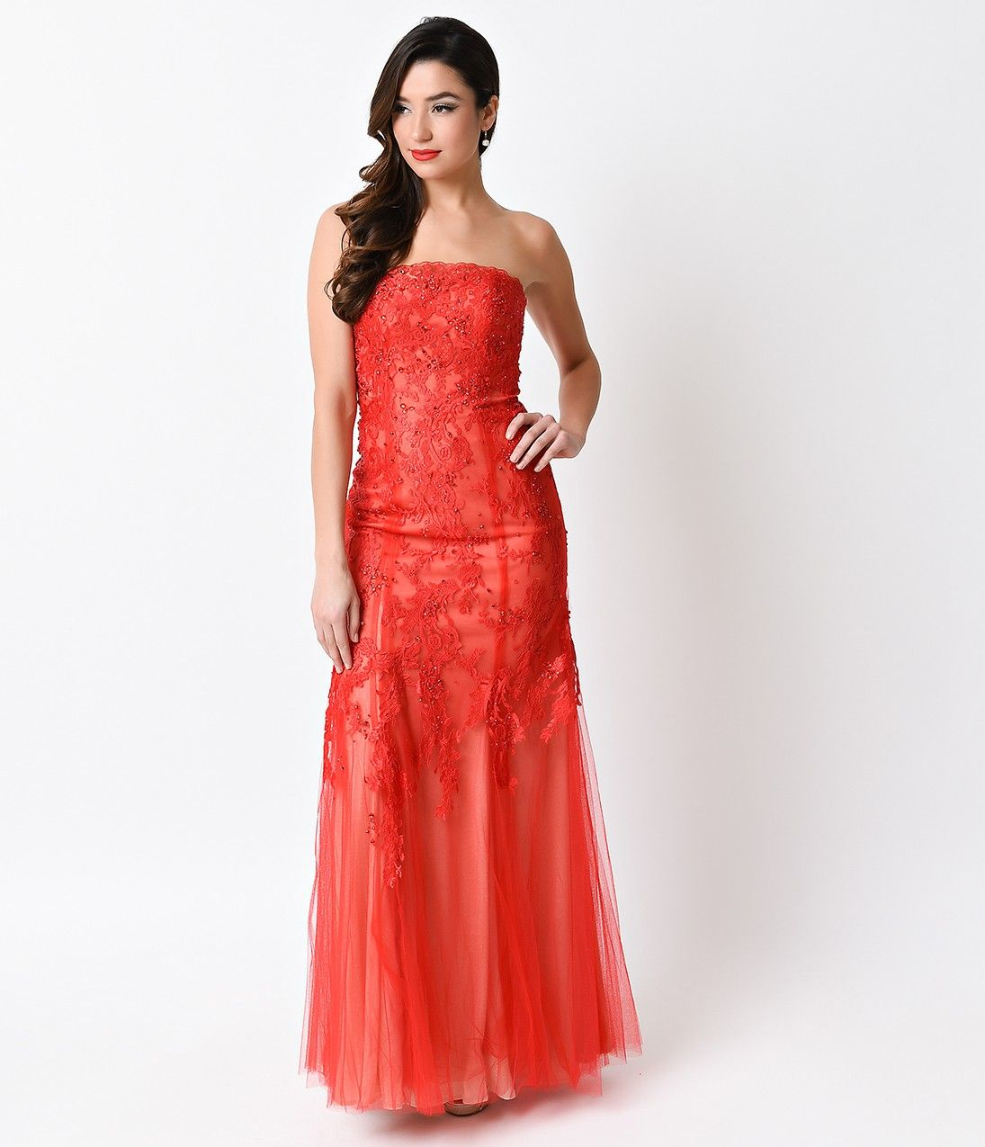 Red sexy strapless lace long dress for prom sexy lace and