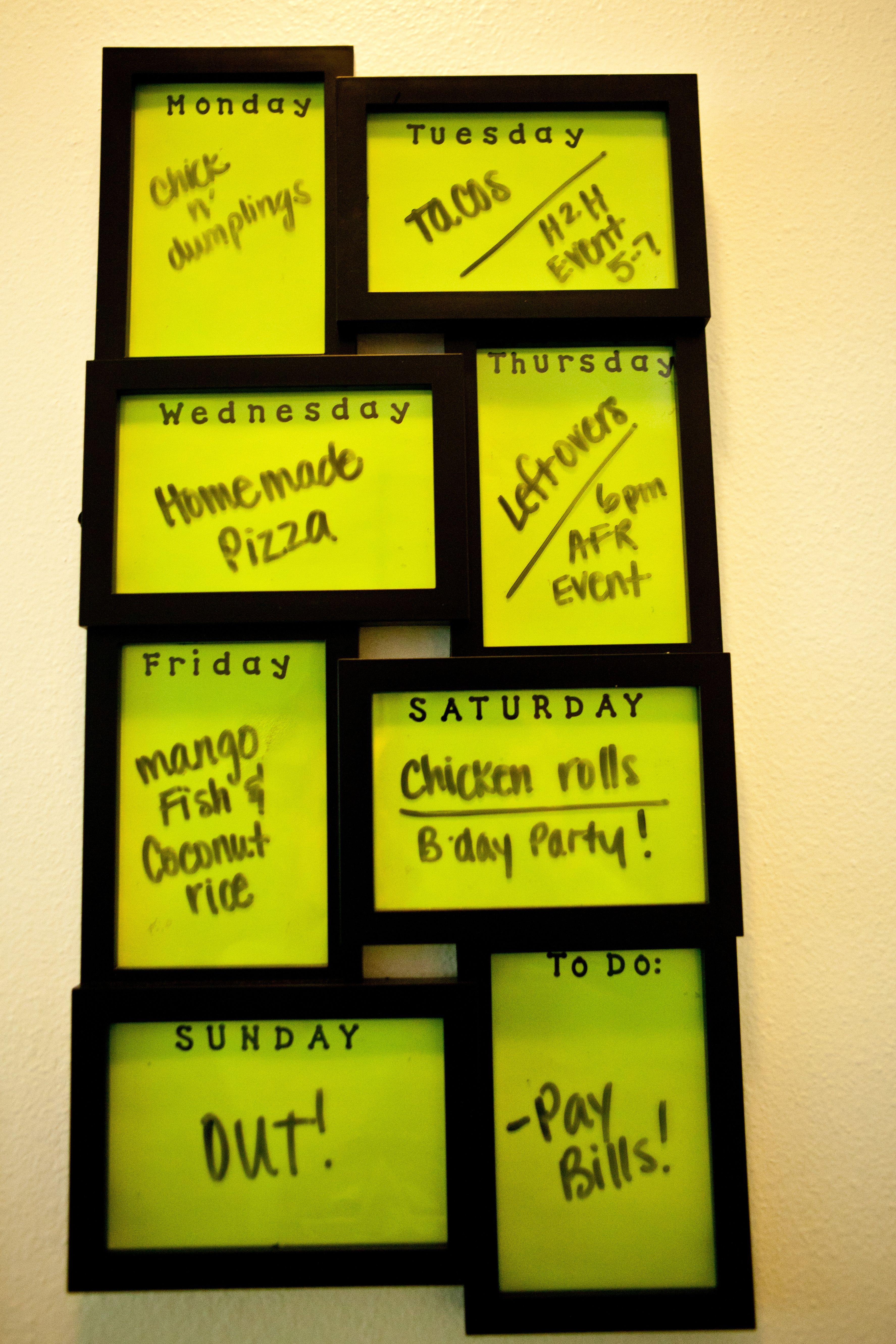 Kitchen Menu Board   Collage Frame With Colored Paper, Stickers For The  Days Of The