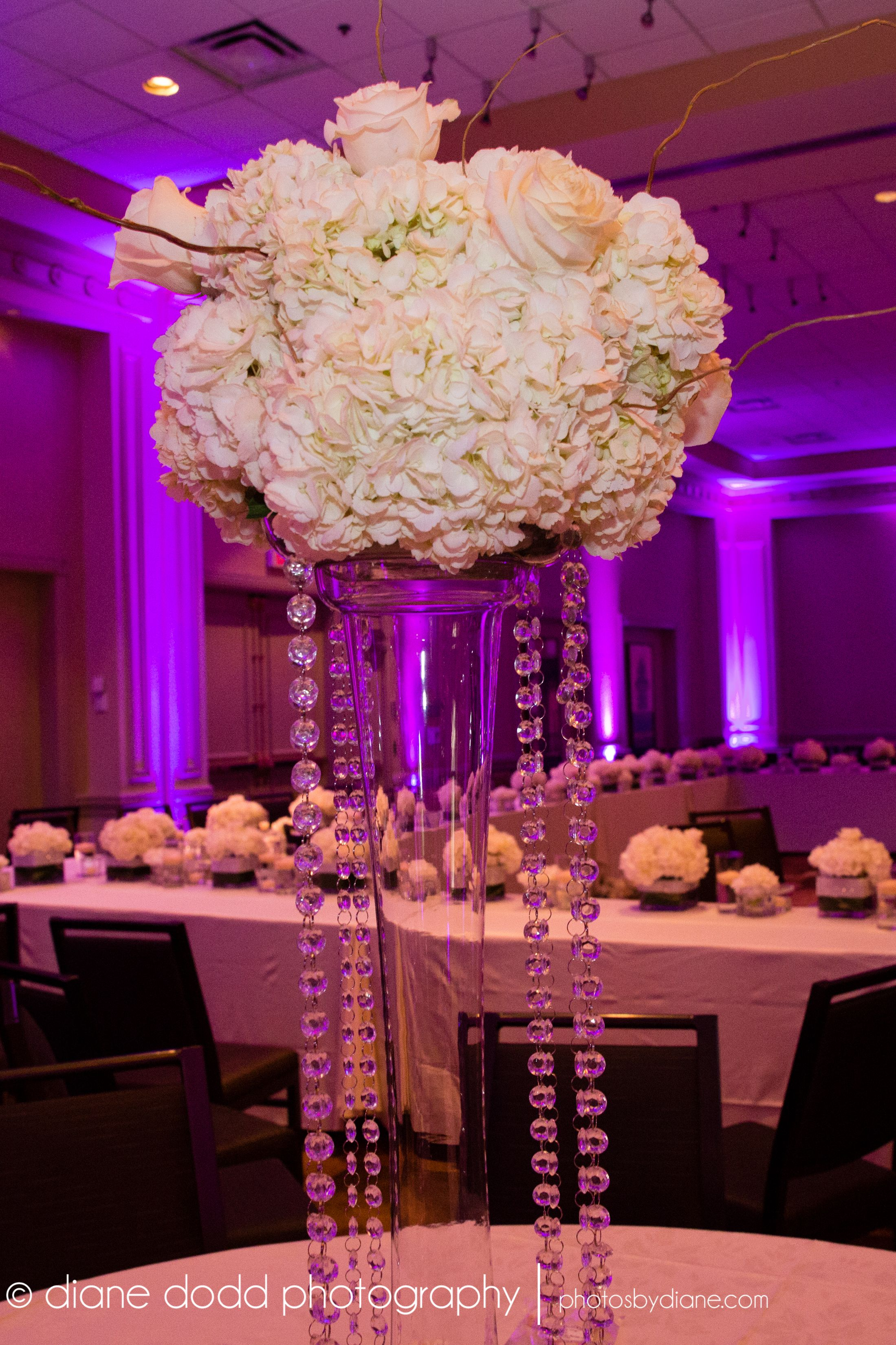 Beautiful  all white and ivory centerpieces