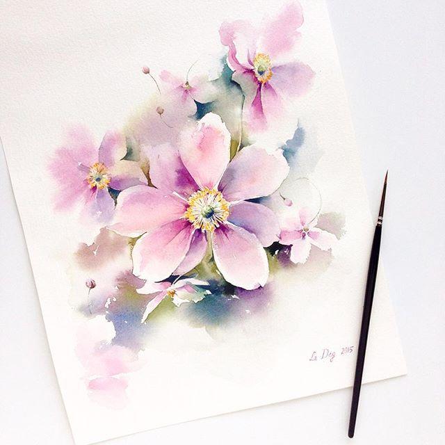 Autumn Flowers Watercolor Watercolour Aquarelle Art Artist