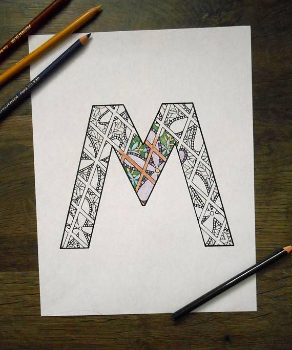 Printable Art Download Letter M Digital Download Instant Art