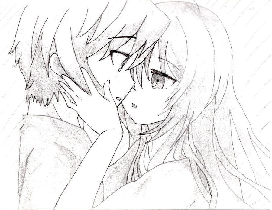 Pin By Tracey2255 On Colorssss Cute Couple Sketches Drawing People Anime Drawings