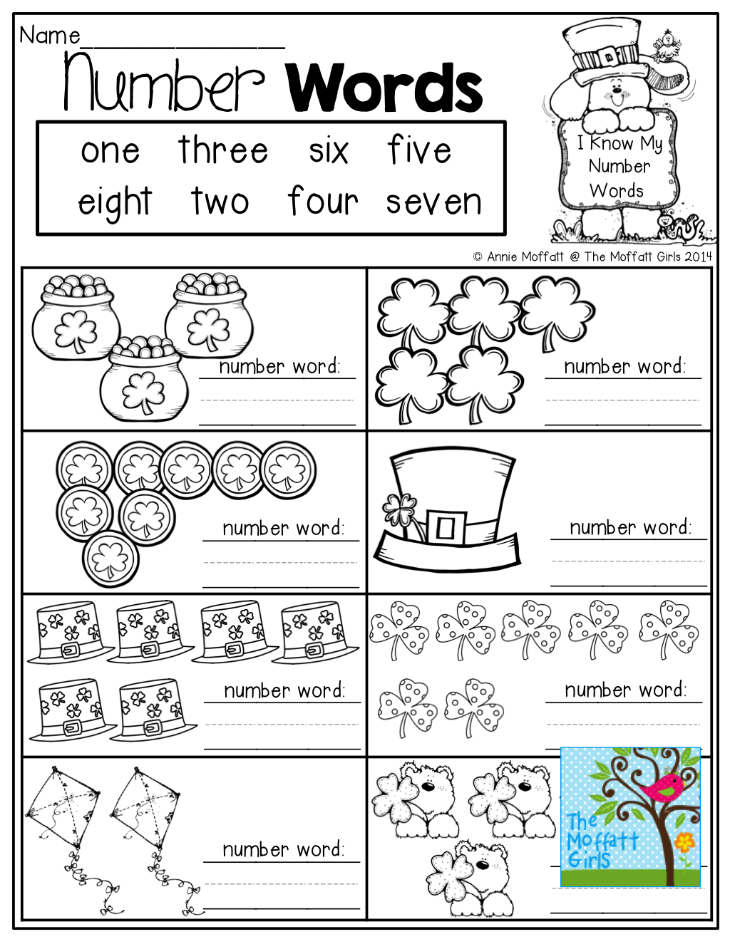 NUMBER WORD practice! Count the items and write the number words ...