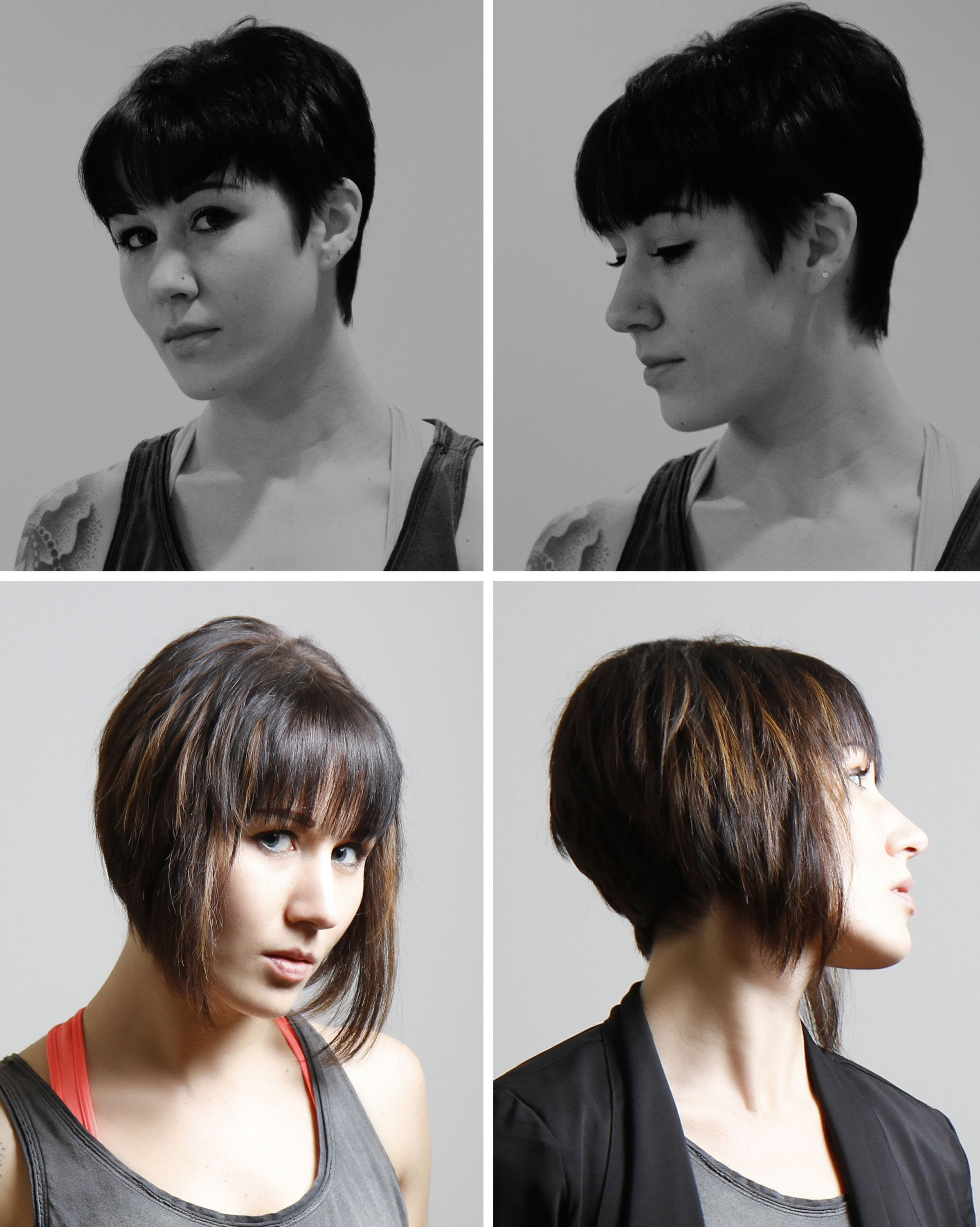 Top Before Bottom After Pixie To Bob Transformation Hair Extensions For Short Hair Hair Extensions Tutorial Hair Today