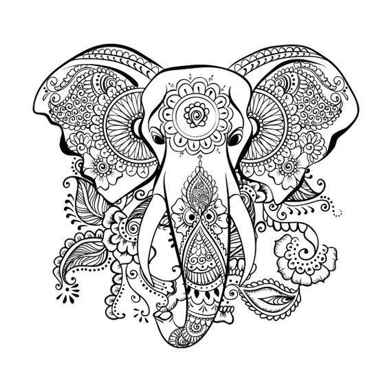 Étnico elefante SVG Mandala elefante SVG cabeza de elefante | Etsy