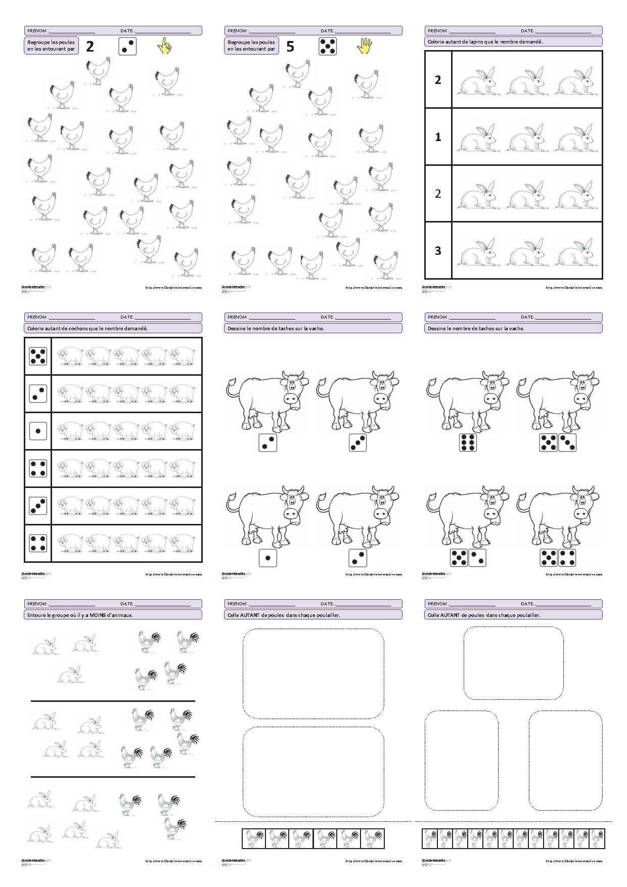 Super 27 fiches d'exercices mathématiques pour la maternelle (PS - MS  ZJ06