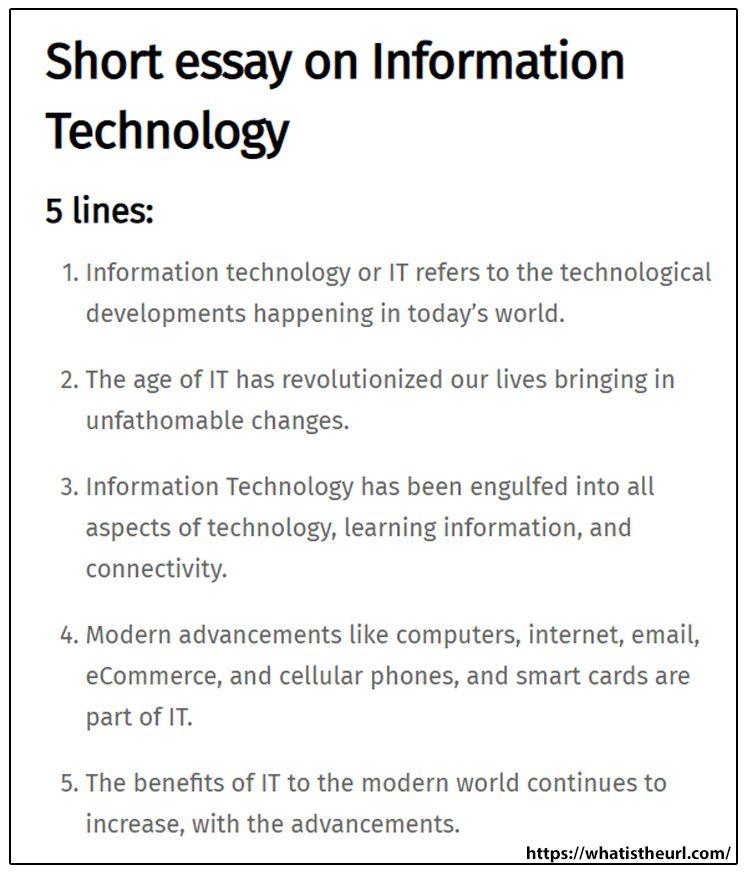 Short Essay On Information Technology Short Essay Essay Information Technology