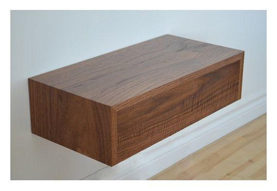 Walnut floating shelf with dovetailed drawer by tealandgold