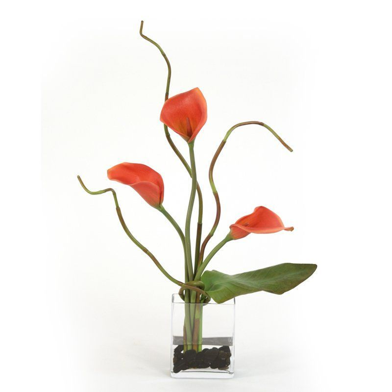 Distinctive Designs Waterlook Rust Calla Lilies And Tropical Leaf