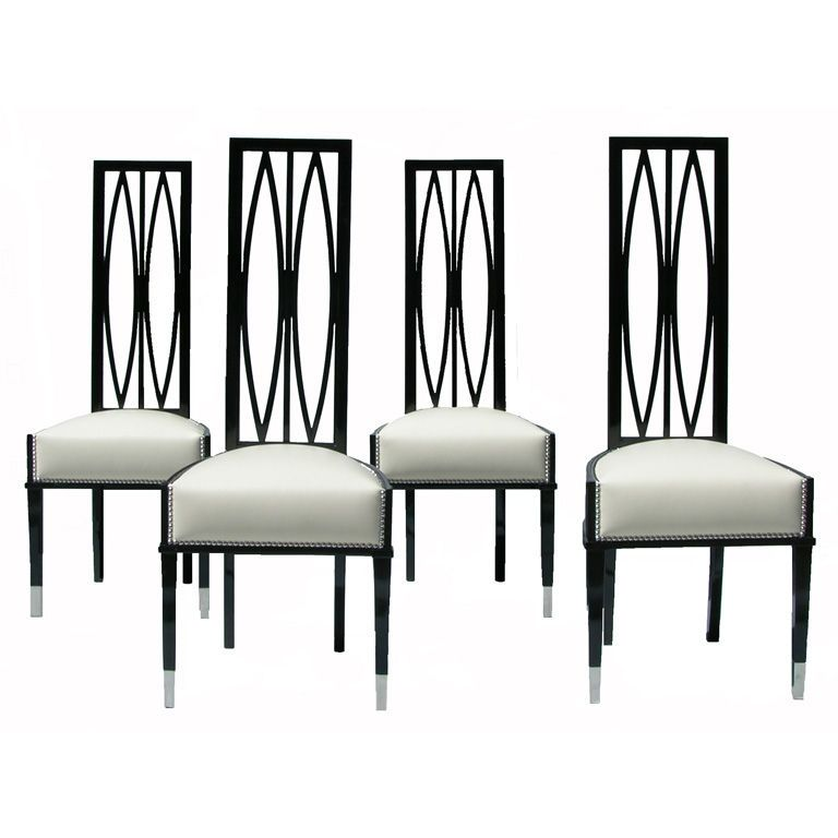 Set Of Four Art Deco Chairs 1stdibs Com Deco Chairs High Back