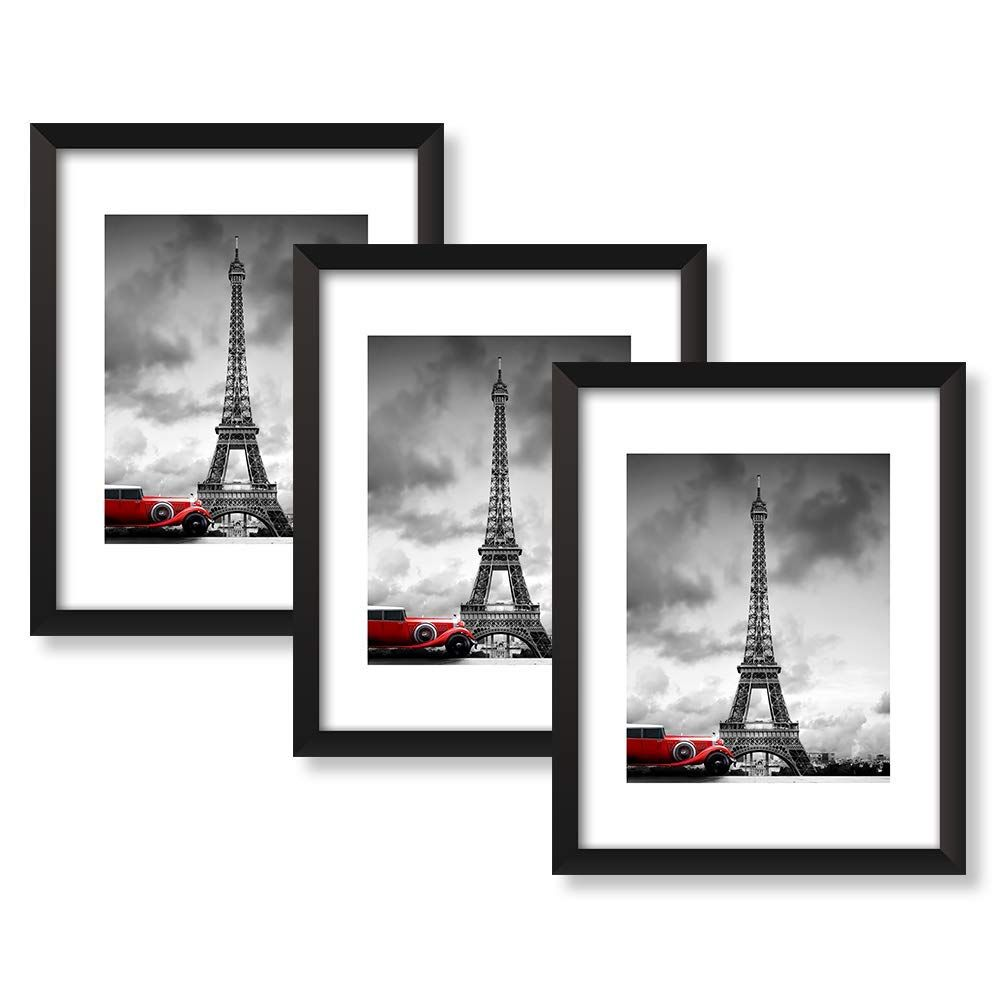 Amazon Com Nan Wind 8x10 Black Picture Frames With 6x8 Mat For Wall And Table Stand Photo Artwo Black Picture Frames Picture Frame Display 16x20 Picture Frame