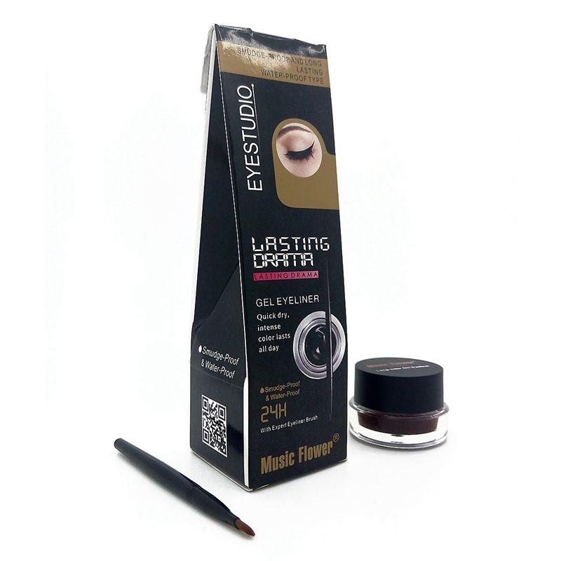 New Black Waterproof Eyeliner Gel Makeup Cosmetic Gel Eye Liner With Brush 24 Hours Long Lasting High Quality Gel Eyeliner Waterproof Eyeliner Eyeliner
