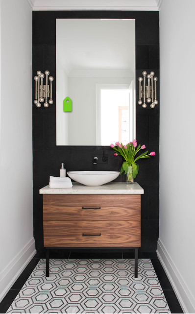 Contemporary Eclectic Bathroom With Black Accent Wall Modern Powder Rooms Powder Room Decor Black Cabinets Bathroom