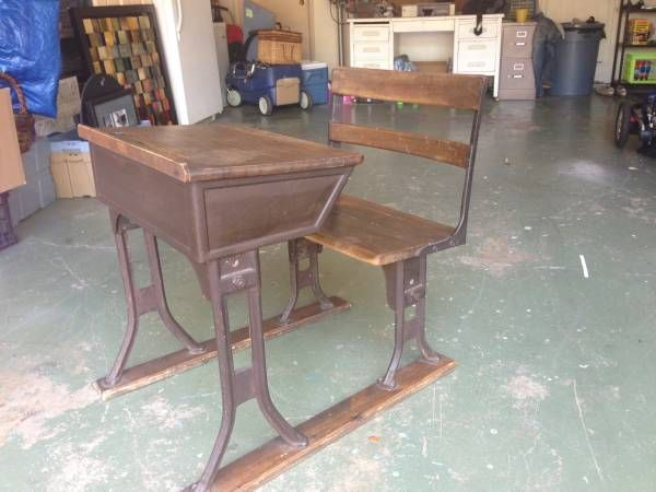 Antique student desk with attached chair - $150 - Antique Student Desk With Attached Chair - $150 Salvage