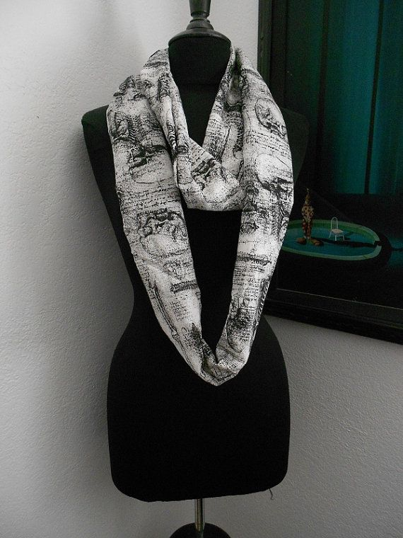 Black and white Skull and bones cotton print infinity by Voyageink, $18.00